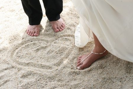 Bride and Groom Beach Sand