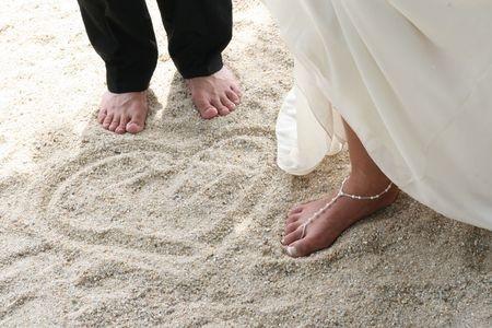 Bride and Groom Beach Sand